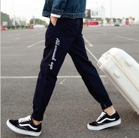 2018 Spring And Summer New Style MEN'S Casual Pants Retro Men Skinny Pants Medium Waist Solid Color Capri Pants MEN'S Trousers