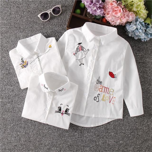 הגעה חדשה בנות לבן חולצה סתיו חמוד ארוך שרוולים ילדי Cartoon חולצות ילדה חולצות חתול בית ספר נער בגדי ילדי חולצות