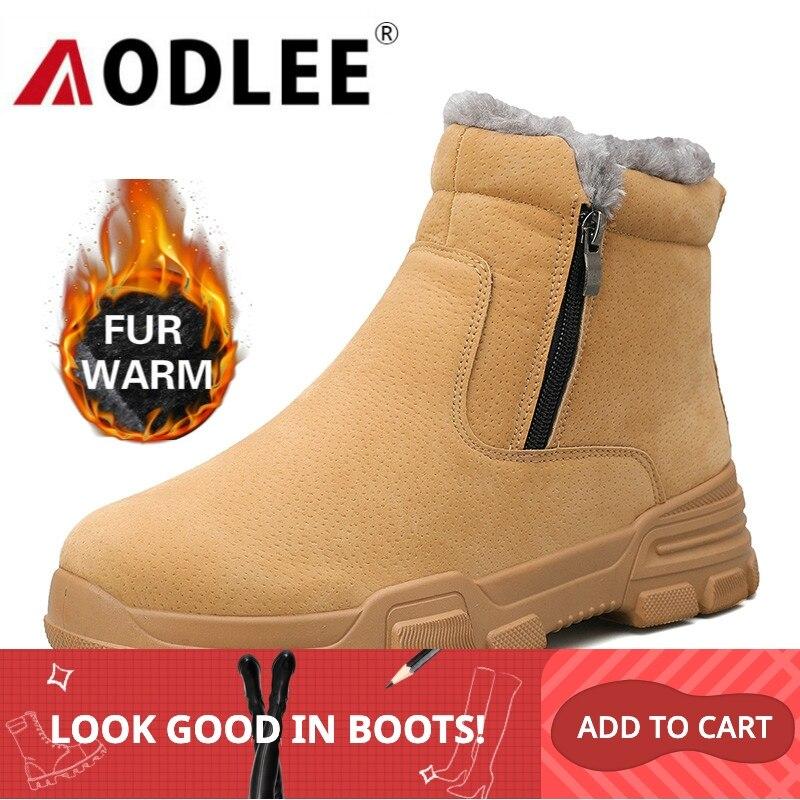 AODLEE Casual Shoes Men Snow Boots Warm Winter Outdoor Waterproof Light Winter Warm Short Plush Boots For Men Sneakers Footwear