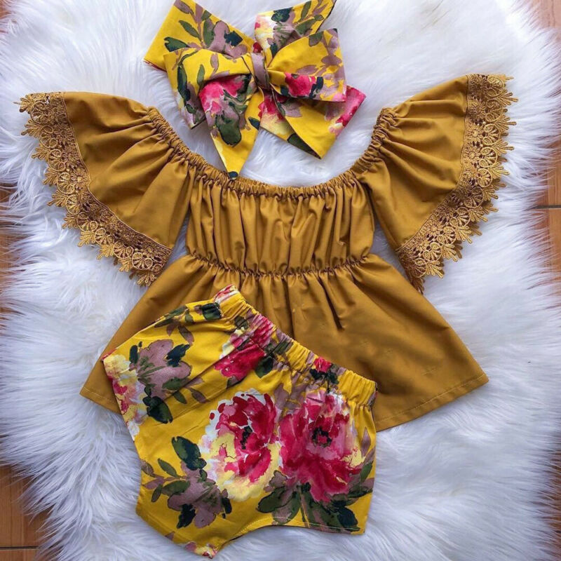 Pudcoco Brand Newborn Baby Girl Toddler Infant Outfits 3Pcs Clothes Off Shoulder Solid Tops Floarl Short Pant Headband 0-5T
