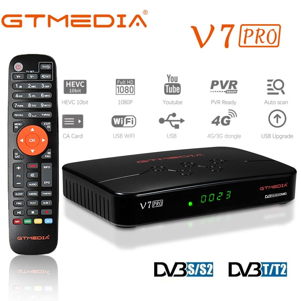 GTMEDIA-receptor de tv satelital V7 Pro DVB-S2/S2X + DVB-C, sintonizador de tv actualizado de V7 Plus, compatible con decodificador de wifi USB dongle 4G, novedad de 2020