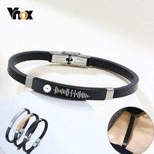 Vnox-pulsera de cuero con grabado personalizado para hombre, brazalete de cuero negro, código de Audio personalizado, nombre, informal, regalo de joyería