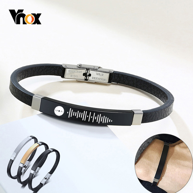 Vnox Customize Engrave Mens Slim Bracelet Black Leather Bangle Personalized Audio Code Name Casual Male Jewelry Gift