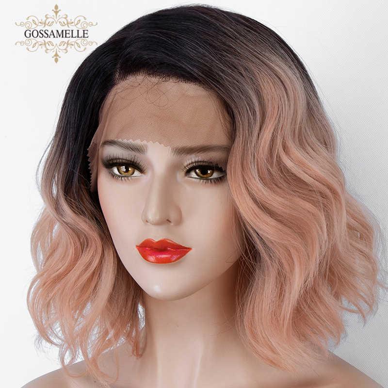 Gossamelle Rosa Synthetische Spitze Vorne Perücke Kurze Wellenförmige Bob Perücken Für Frauen Cosplay Perücken Hohe Temperatur Faser