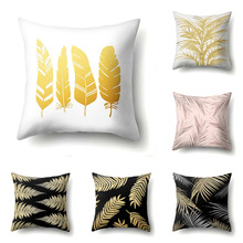 cushion cover 45*45 Palm leaf black gold cushions Pillow cases Polyester pillowcase home decor pillow covers kd-0148