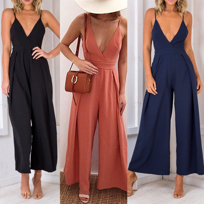 Fashion Spring Summer Sexy Jumpsuits Women Spaghetti Strap Party Rompers Solid V Neck Loose Jump Suits Backless Ladies Clothes