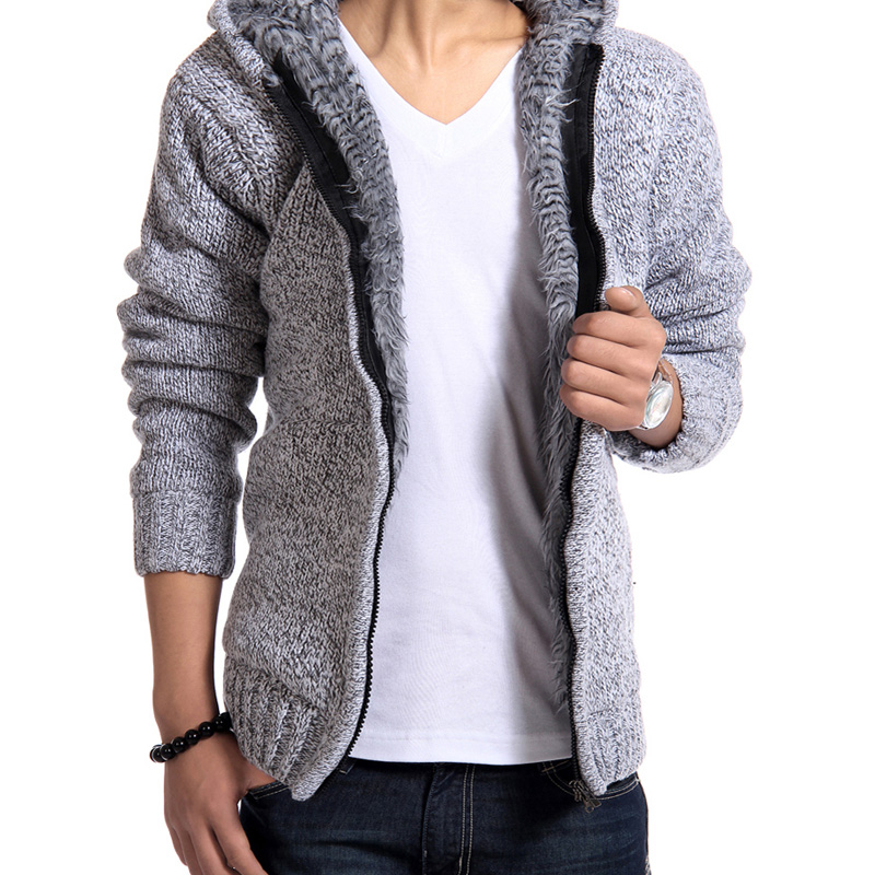 Autumn Winter Men's Thick Jackets Casual Warm Hoodies Fur Inside Outwear Mens Hooded Coat Thermal Sweatshirt J6T505