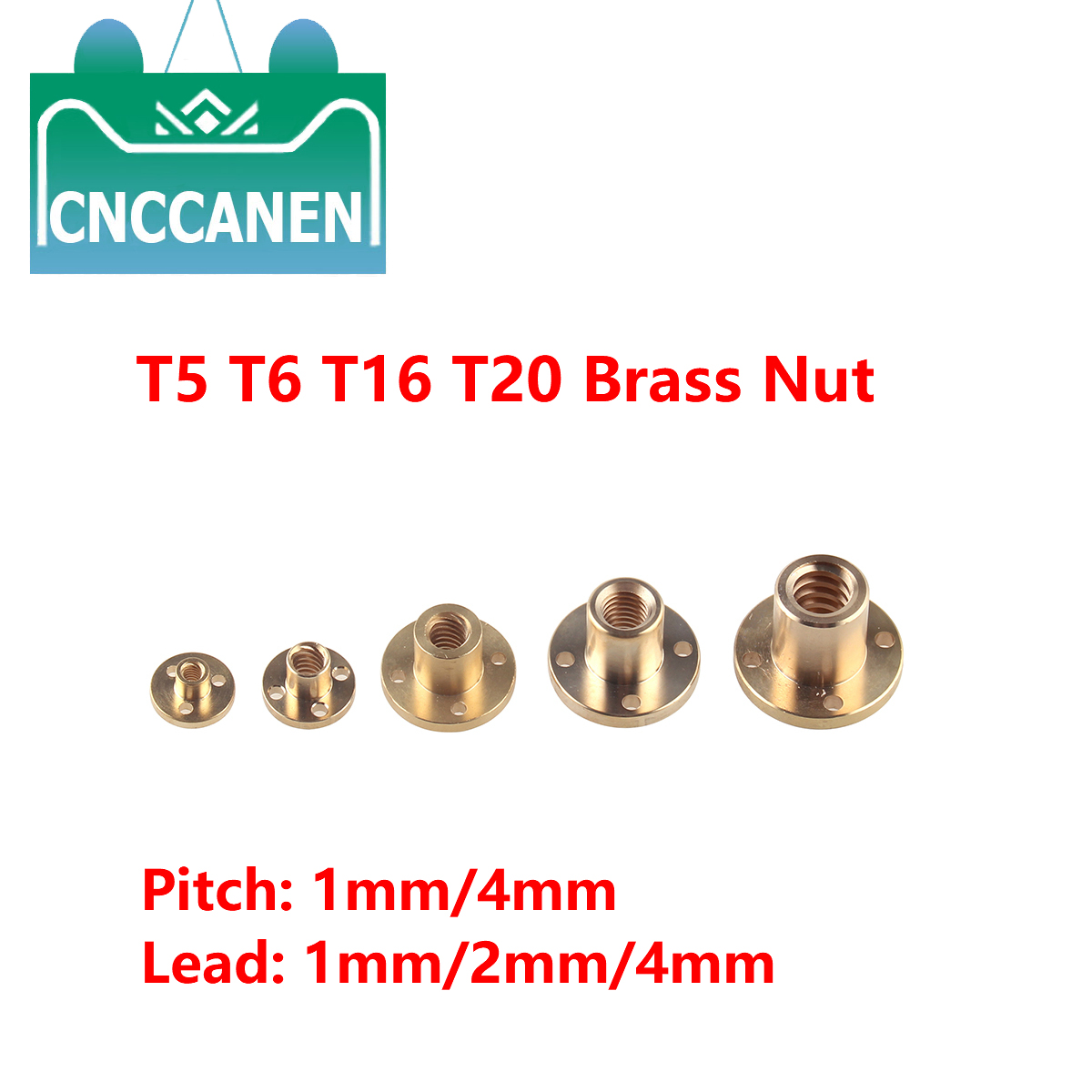 T5 T6 T16 T20 Leadscrew Nut Pitch 1mm/2mm Lead 1mm/2mm/4mm Brass Lead Screw Nut For CNC Parts 3D Printer Accessories