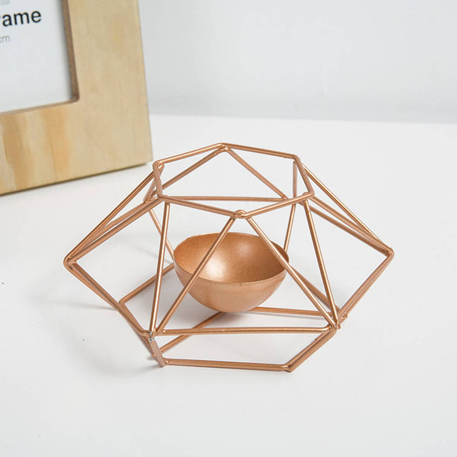 Fashionable Geometric Iron Candle Holder For Home Decoration