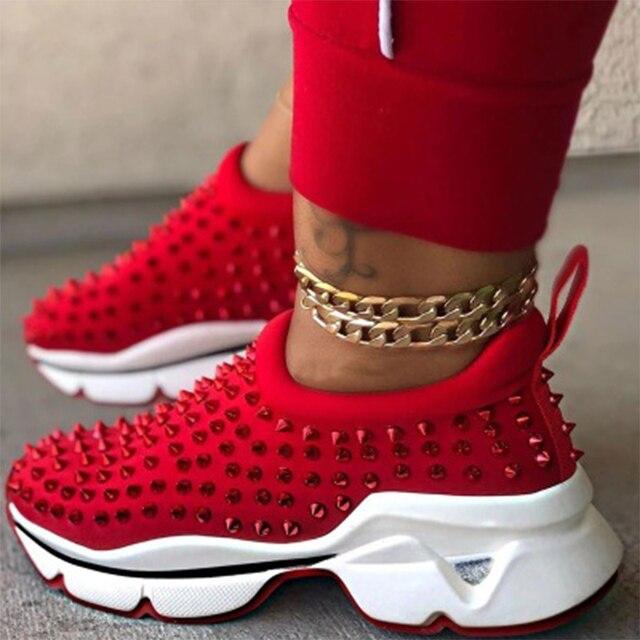 Zapatillas de deporte vulcanizadas con remaches para mujer, zapatos deportivos con cuñas de plataforma para mujer, calzado informal de leopardo sin cordones de talla grande, 2021 1