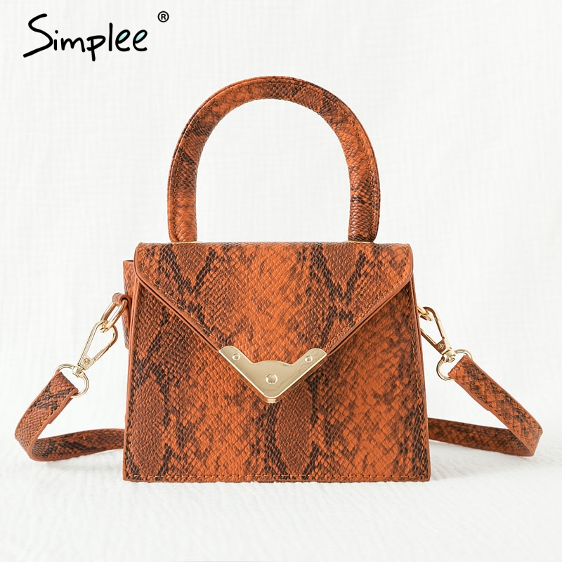 Simplee Streetwear Women Leather Handbags Snake Print Strap Shoulder Bags Office Lady Autumn Winter Fashion Small Square Handbag