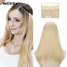 Hairpiece Halo Fake-Hair Fish-Line Synthetic-Extensions NICESY Ombre Straight Long 22inch
