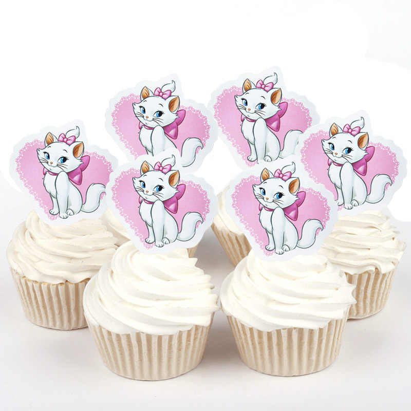 50 Pcs Disney Marie Cat Duchess Sophia Winnie The Pooh Kertas Cupcake Topper untuk Dekorasi Kue Ulang Tahun Pesta Pernikahan Supplier