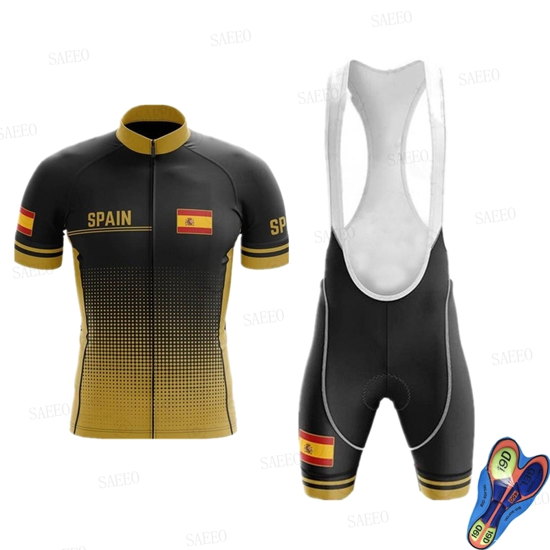 Spain Bike Team Cycling Jersey Overalls Shorts Set Men's Cycling Jersey Orbeaing Overalls Shorts Set Road Cycling Quick-drying