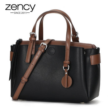 Zency Fashion Brown Women Handbag 100% Genuine Leather Daily Casual Tote Bag High Quality Black Bags Large Capacity Shoulder Bag