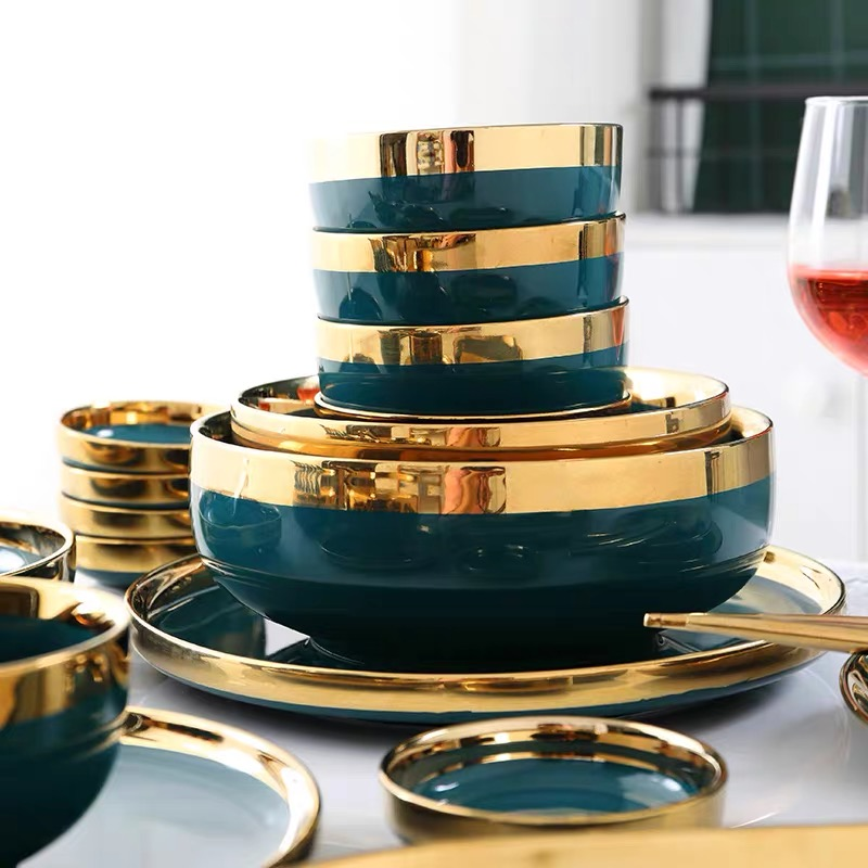 Ensemble d'assiettes à dîner en céramique | De luxe européen soucoupe aromatisée or Phnom Penh assiette de logement profonde 8/10 pouces cuillère à soupe - 3