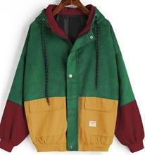 2019 New Contrast color block Long Sleeve Corduroy Women jacket Patchwork Autumn women Jacket plus size women button female coat plus lace contrast sleeve coat