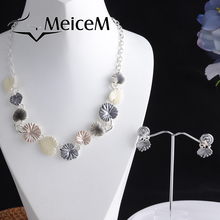 MeiceM Fashion Brand Trendy Daisy Necklace for Women Party Anniversary Gift Alloy Jewelry Set Women