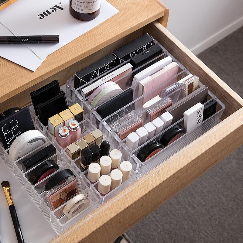 Acrílico transparente portátil maquillaje organizador caja de almacenamiento organizador cosmético organizador maquillaje cajones de almacenamiento organizador Mini inclinómetro Digital de 360 grados caja de nivel electrónico herramientas de medición de Base magnética
