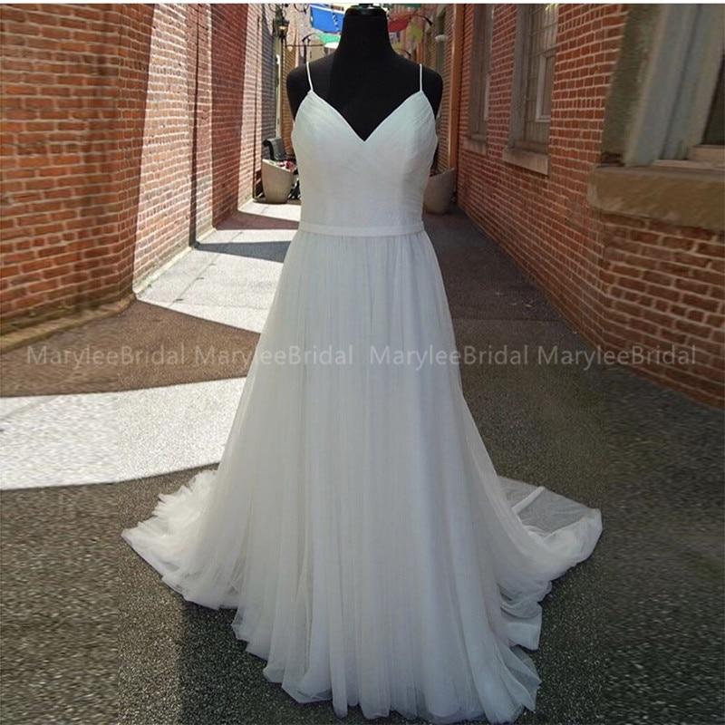 White Ivory Simple Wedding Dresses Pleats Tulle Spaghetti Straps Bohemian Wedding Gowns Made To Measure Vestido De Noiva