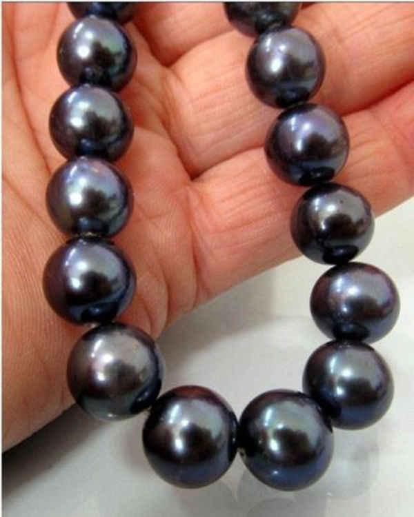 """新パーフェクトゴージャスな 18 """"10-11 ミリメートル AAA + タヒチ NATURALBLACK 真珠のネックレス 14K + ボックス"""