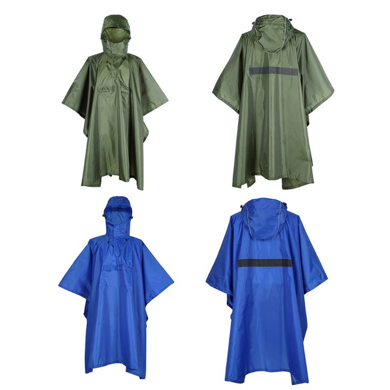 190T Waterproof Outdoor Rain Poncho Reusable Hiking Camping Packable Backpacking Hooded Rainboat Jacket with Reflective Strip|Hiking Jackets| |  - title=