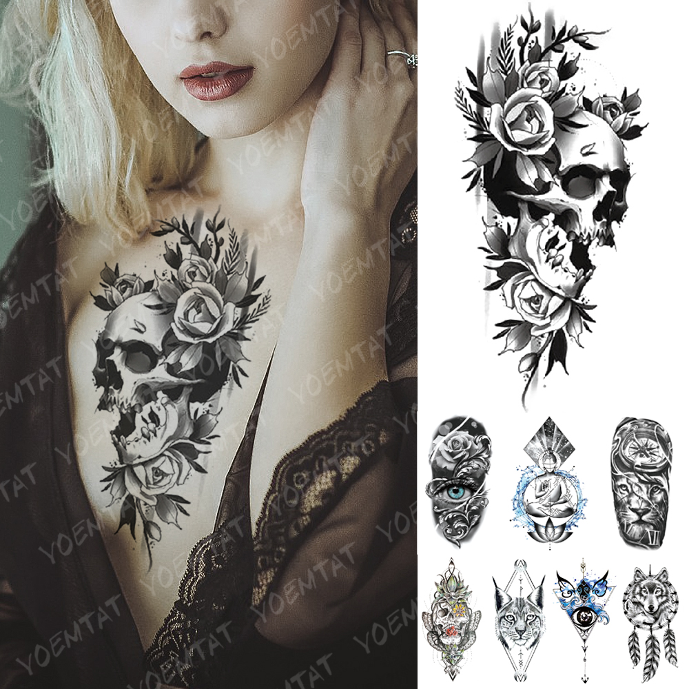 Waterproof Temporary Tattoo Sticker Flowers Skull Eyes Rose Flash Tattoos Buddha Oceans Lion Body Art Arm Fake Tatoo Women Men