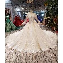 BGW HT42914 חתונה שמלה עם ארוך רכבת O צוואר ארוך שרוול תחרה עד V בחזרה כלה להתלבש פרח חתונה שמלת שמלה