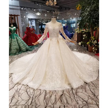 BGW HT42914 Wedding Dress With Long Train O neck Long Sleeve Lace Up V back Bridal Dress Up Flower Wedding Gown Dress
