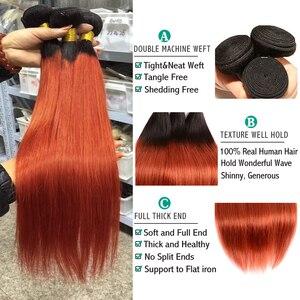 Image 3 - Sexay Ombre Bundels Met Sluiting Pre Gekleurde 1B 350 Gebrande Oranje Braziliaanse Steil Haar Weave Menselijk Haar 3 Bundels met Sluiting