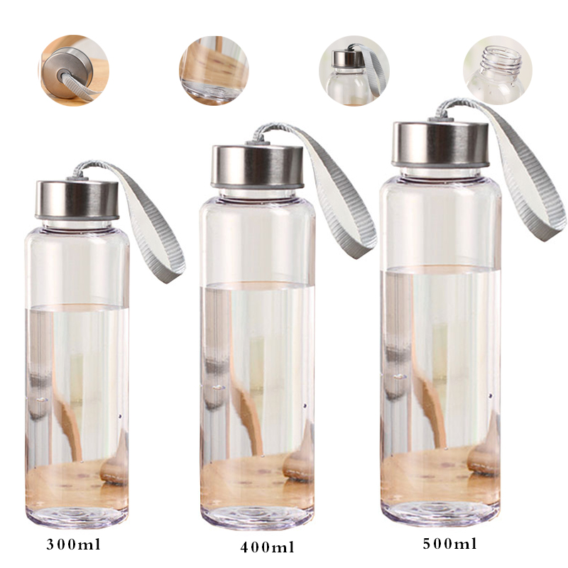 Outdoor Sports Portable Water Bottles Plastic Transparent Round Leakproof Travel Carrying for Water Bottle Studen Drinkware-in Water Bottles from Home & Garden on AliExpress
