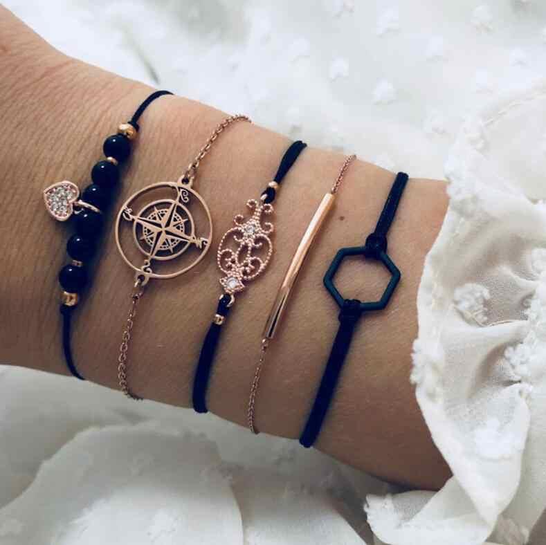 Nationale Stijl Persoonlijkheid Armbanden en Armbanden Sets 4/5/6 stuk pak Cross Rechthoek Kralen Armbanden Sneeuwvlok Hamsa hand Jewel