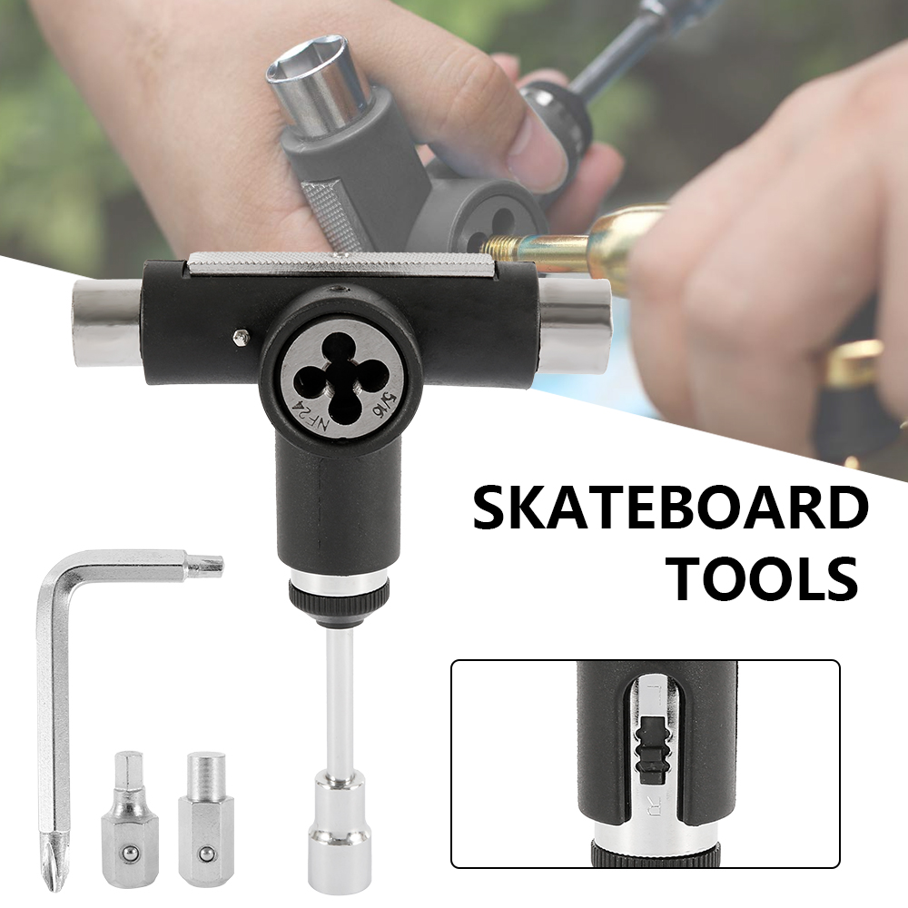 Skateboard Repair Tools Kit Multifunctional Skateboards Wrench Skate Board T-shape Semi-automatic Roller Skate Heavy Duty Wrench