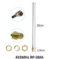 אנטנה 5dbi rp sma 433MHz אנטנה 5dbi GSM 433 MHz RP-SMA גומי מחבר עמיד למים Lorawan אנטנה + IPX ל- SMA זכר הארכת כבל צמה בכבלים (3)