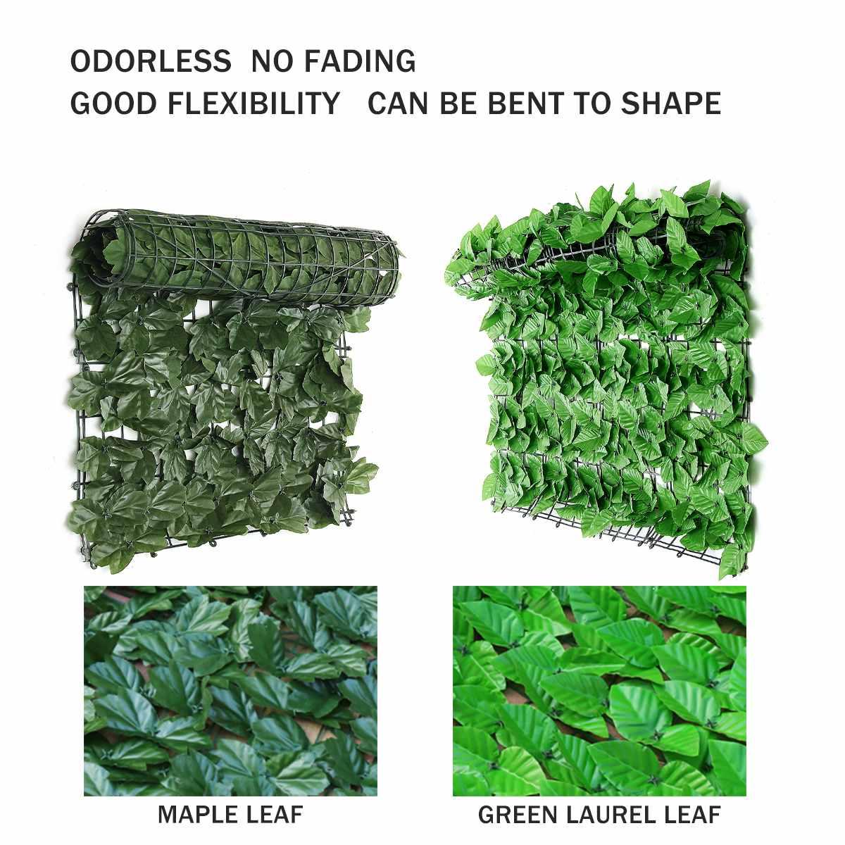 GREEN ARTIFICIAL HEDGE SCREENING Laurel leaf  fence wall garden privacy