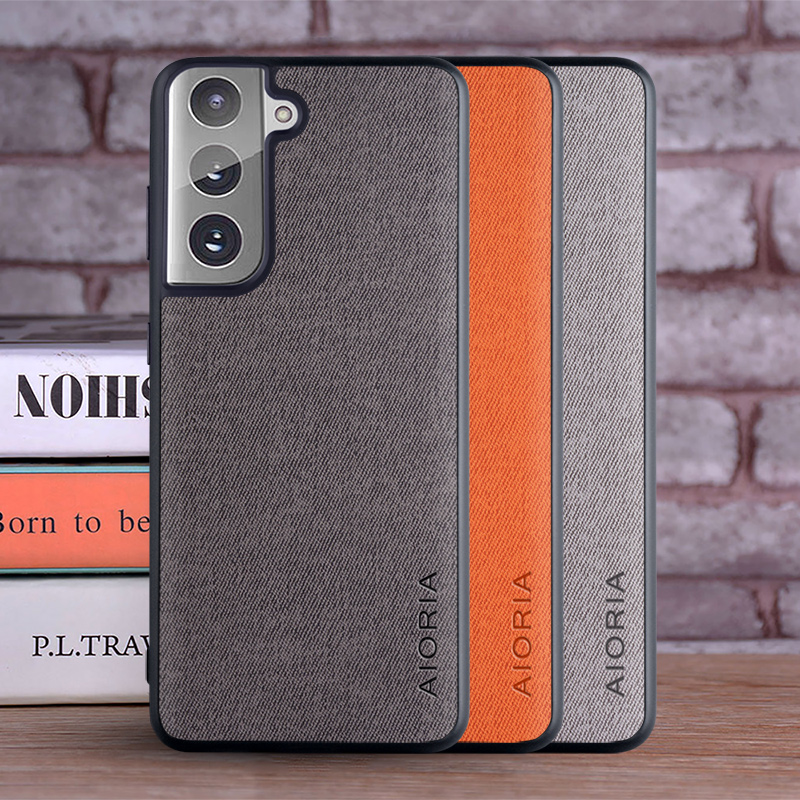 Case For Samsung Galaxy S21 Plus Ultra 5G Coque Luxury Textile Leather Skin Soft TPU Hard Cover For Samsung S21 Plus Ultra Case