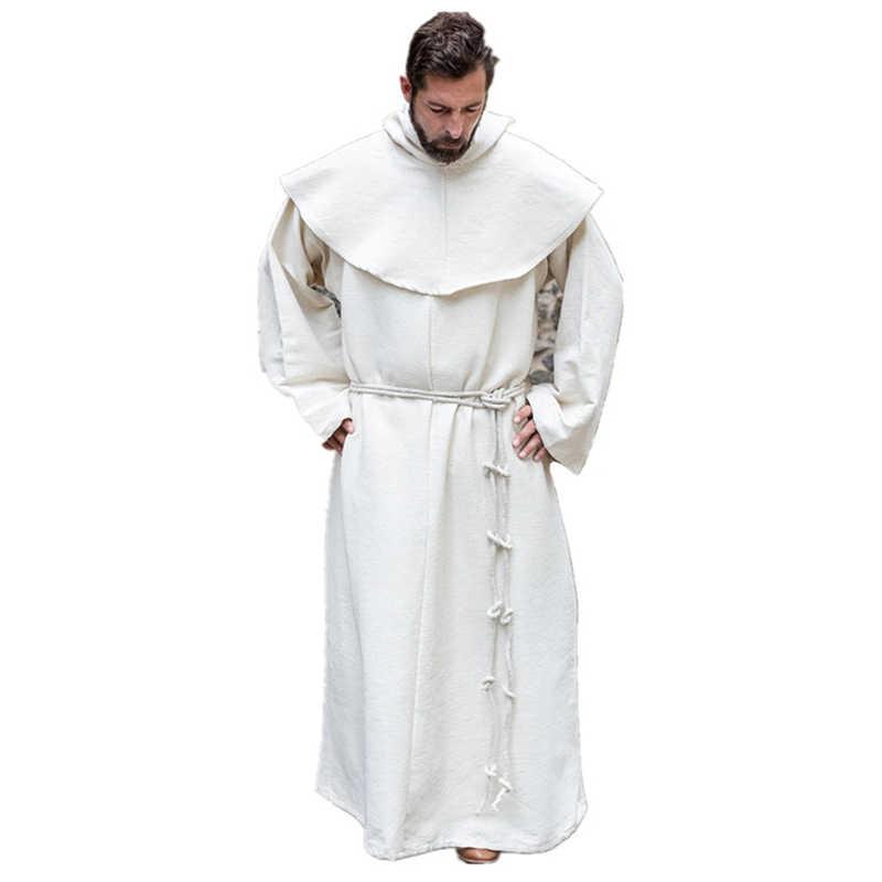 גברים של ימי הביניים רטרו גלימות מוצק בצבע קייפ Loose ארוך שרוולים גלימות