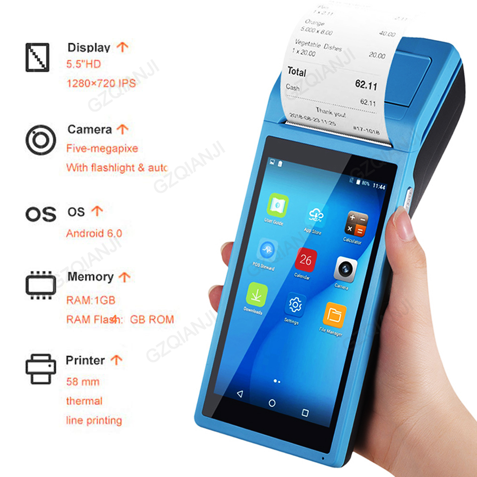 PDA POS Handheld device Pos terminal built in thermal bluetooth printer 58mm wifi Android Rugged PDA