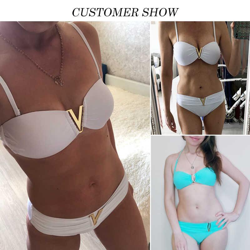 Mossha-maillot de bain Sexy blanc, Bandeau, col en v, soutien-gorge Push-up, bikini, ensemble deux pièces, d'été, pour femmes, 2020