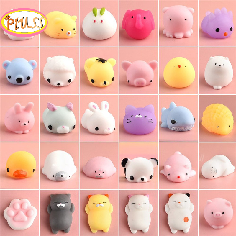 Cute Squeeze Mochi Squishy Pack Mini Animal Antistress Ball Squeeze Toys Squishi Rising Stress Relief Squishy Toy Pets Fun Gift