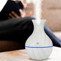 130 ml mini carga usb umidificador de ar elétrico aroma difusor ultra sônico grão de madeira branca com 7 cores led luz para casa Umidificadores     -