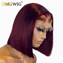 Perruque Lace Front Wig naturelle brésilienne Remy, cheveux humains, coupe courte au carré, couleur bordeaux 99J, 4x4, pre-plucked, pour femmes africaines