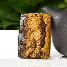 Натуральный камень тигра глаз кулон с подвеска с изображением тигра амулеты кулон для человека амулет амулеты ювелирные изделия с бесплатной веревкой