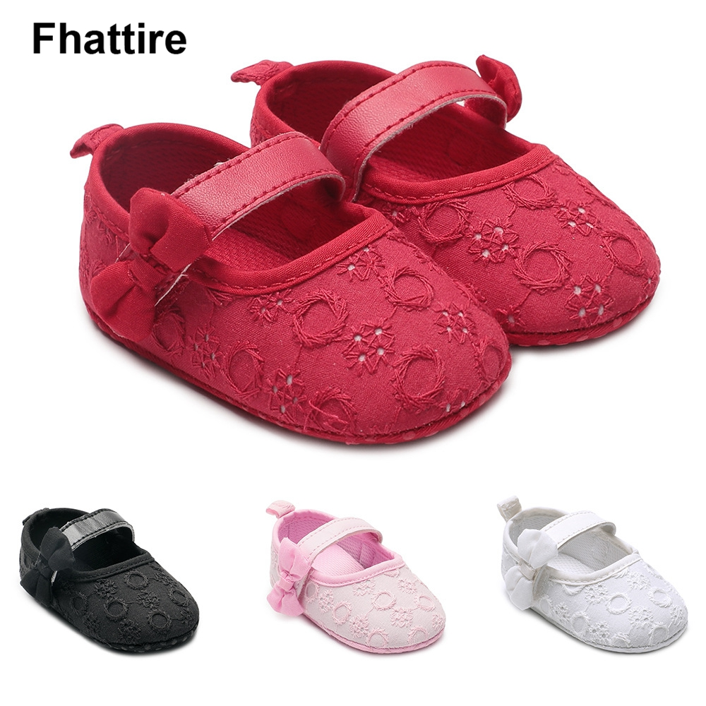 New Baby Shoes Newborn Baby Girls Soft Shoes Soft Soled Non-slip Bowknot Footwear Crown Shoes First Walkers Newborn