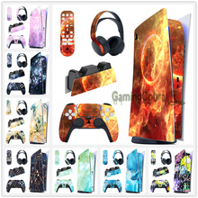 Full Set Skin Decal Digital Edition Sticker for PS5 Controller & Charging Station & Headset & Media Remote