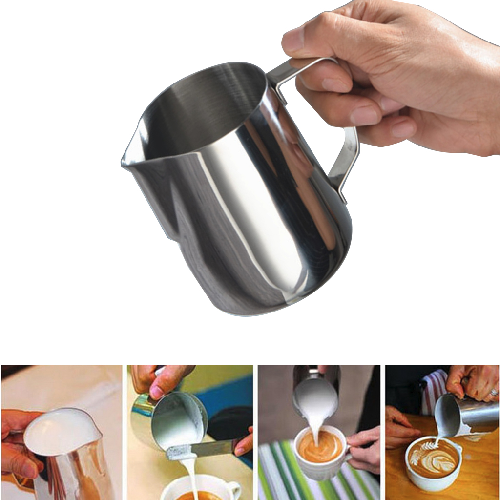 Stainless Steel Milk Jug 150-1000ml Cream Cup Barista Craft Coffee Creamer Latte Art Frothing Pitcher Milk Foam Tool Coffeware