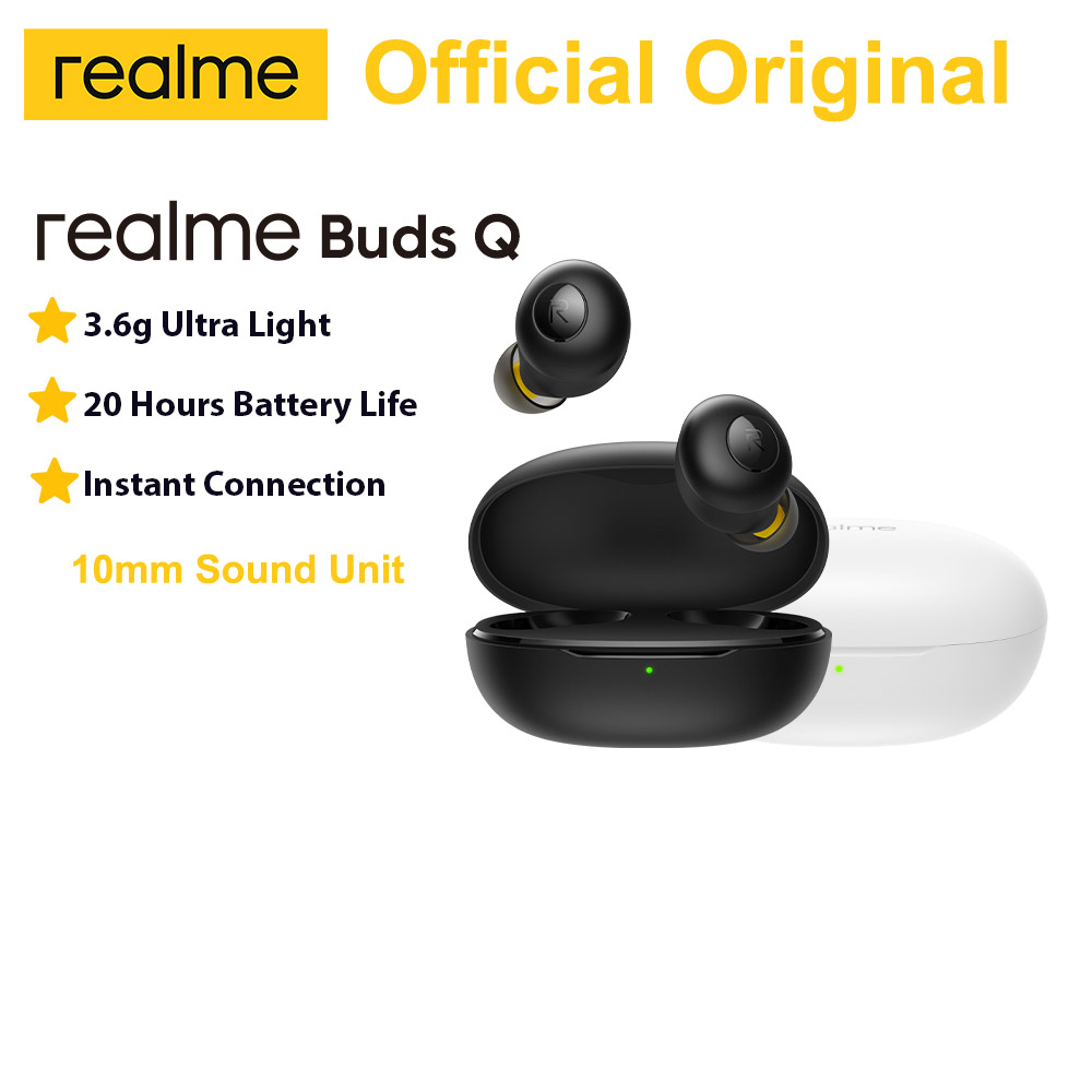 realme Buds Q TWS Earphones Ture Wireless Bluetooth 5.0 Open-up Auto Connection 20h Battery Life Charging Box Ultra Light 3.6g