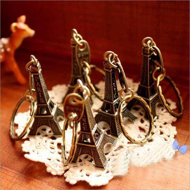 Novo 1 pc paris torre eiffel chaveiro chaveiro saco pingente retro 5cm torre eiffel charme festa presente jóias 3052