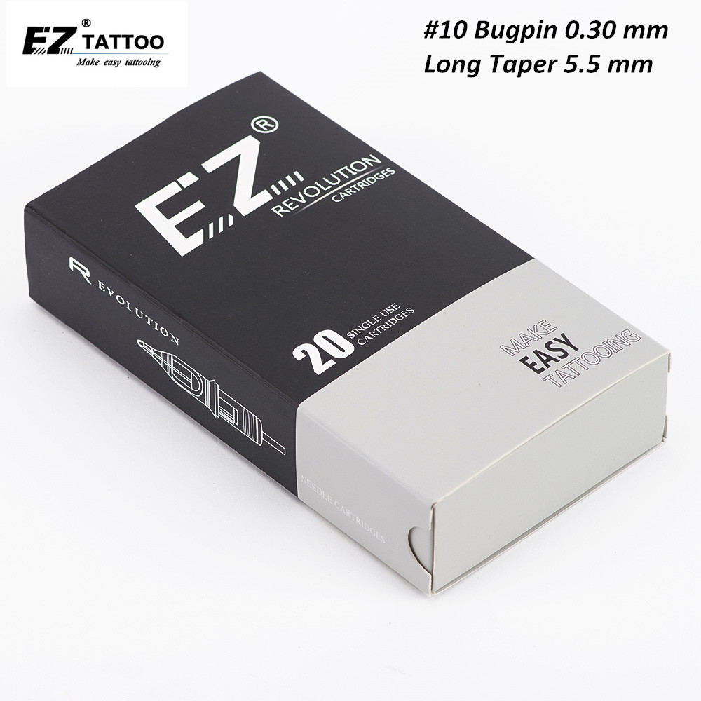 EZ Revolution Cartridge Needle #10 Bugpin (0.30 Mm) Long Taper Round Liner Tattoo Needles For Cartridge Machine Grips 20 Pcs/Box