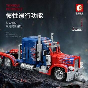 849PCS Peterbilt 389 Heavy Container Truck Technic Model Building Blocks Set Classic Car Bricks Children Construction Toys Gifts 2